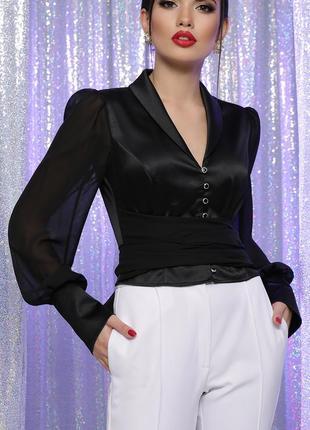 Нарядная блузка, плотный атлас (3 цвета)
