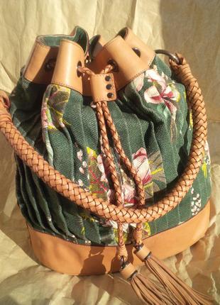 Стильная кожаная сумка шоппер хобо uterque оригинал италия франция модная и красивая
