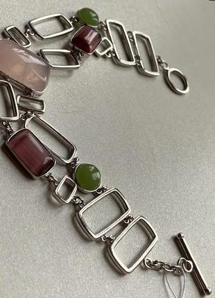 Эксклюзивный серебряный браслет с розовым кварцем и улекситом, 925