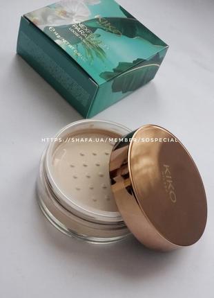 Фиксирующая и матирующая пудра для лица unexpected paradise loose powder kiko milano