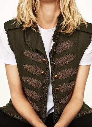 Крутейший,дорого жилет,жакет,пиджак,куртка,золотая вышивка,хаки,этно,бохо,кэжуал, zara