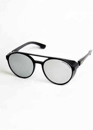 Солнцезащитные очки  arm 1807 черные матовые зеркальные с шорами.