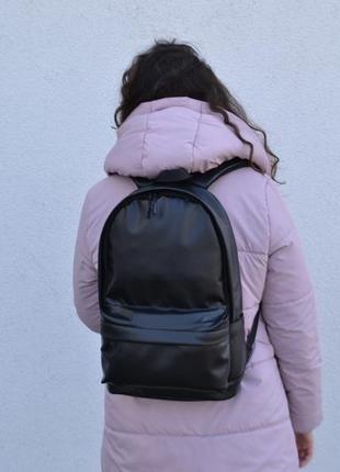 Стильный кожаный рюкзак унисекс экокожа под нетбук ноутбук до 15 дюймов