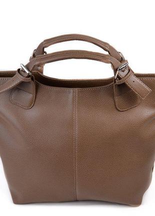 Женская сумка шоппер темная оливкового цвета мягкая матовая на плечо