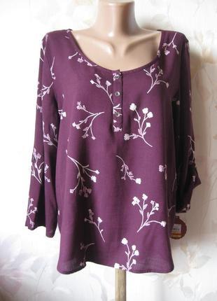 Блуза в цветочный принт р.46-48