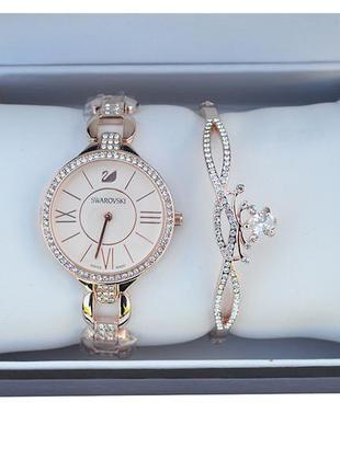 Шикарные наручные женские часы swarovski с браслетом браслет
