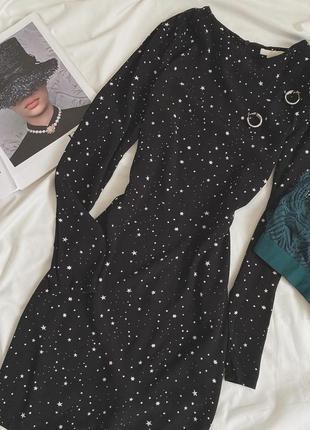 Красивое платье в звёзды от h&m с длинным рукавом базовое платье