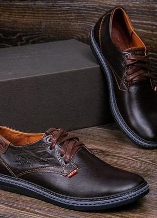 Туфли кожаные мужские коричневые levis