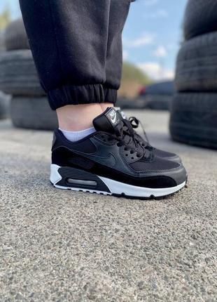 ❤ женские черные кожаные кроссовки nike air max 90 ❤