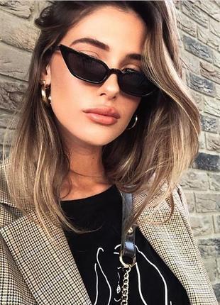 Винтажные узкие очки кошечки с чёрной оправой