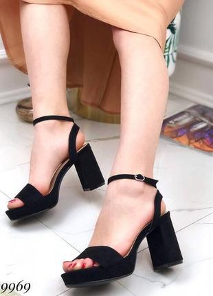 ❤ женские черные босоножки на каблуке ❤