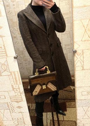 Драповое шерстяное пальто zara зара длинное шерсть пальто серое размер м с
