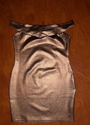 Мини платье золотое