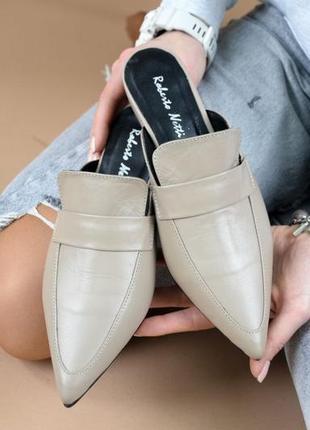 Кожаные мюли натуральная кожа летние туфли без задника шлепанцы с закрытым носком