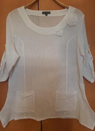 Блуза лен котон марлевка бохо италия