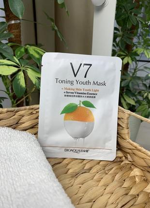 Новая маска тканевая с экстрактом апельсина bioaqua v7 toning youth mask