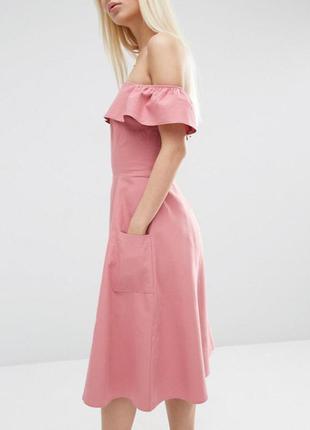 Платье с открытыми плечами из натуральной ткани asos