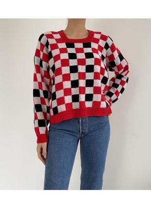 Стильный свитер кофта в клетку в стиле zara bershka weekday винтаж