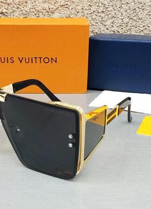 Louis vuitton очки маска женские солнцезащитные большие модные черные в золоте