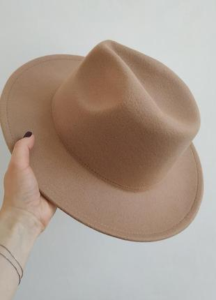 Фетровая шляпа федора, бежевая шляпа с широкими полями, ковбойка, капелюх