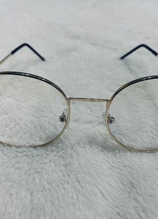 Стильные классические имиджевые прозрачные очки в золотой оправе