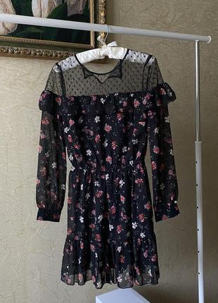 Винтажное платье шифон в цветочек чёрное