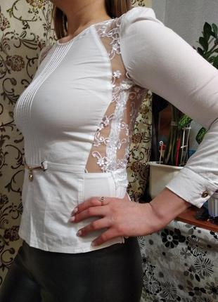Белая ажурная блузка,размер- s,42