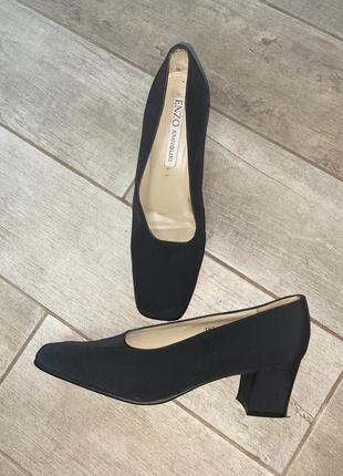 Чёрные туфли ,тканевые туфли,квадратный носок,квадратный каблук
