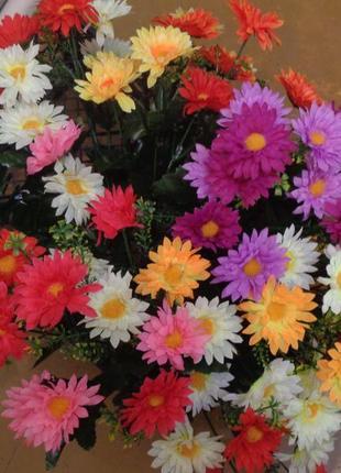 Искусственный букет. двухцветная хризантема. высокие. распродажа