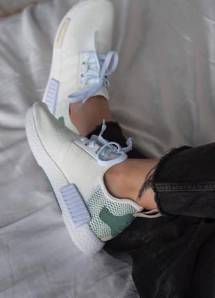 Женские кроссовки adidas nmd white/green