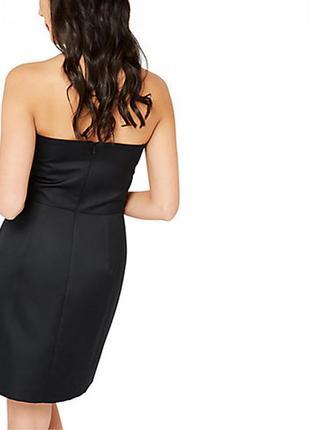 Вечернее черное коктейльное/платье бюстье/бандажное с кружевной вставкой miss selfridge