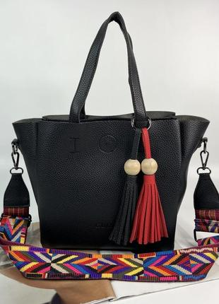 Женская сумка на и через плечо на три отделения с текстильным ремешком жіноча сумочка