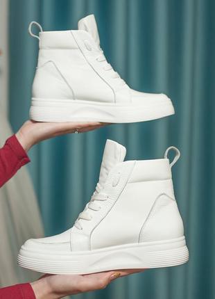 Демисезонные ботинки/ кроссовки осенние высокие (натуральная кожа)