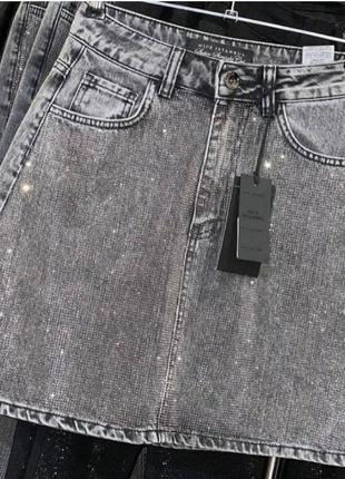 Юбка джинсовая в стразах, качество люкс, размер хс.