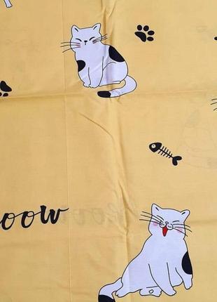 Простыни из бязи - коты на желтом, все размеры, разные расцветки, быстрая отправка