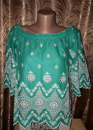 Нарядная хлопковая блуза с вышивкой