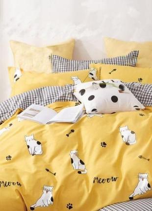 Постельные комплекты из бязи - коты на желтом, все размеры, быстрая отправка