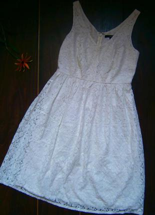 Белое кружевное платье lindex