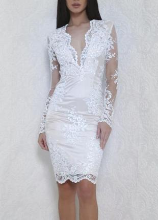 Белое платье на роспись свадьбу кружевное прямое с длинными рукавами