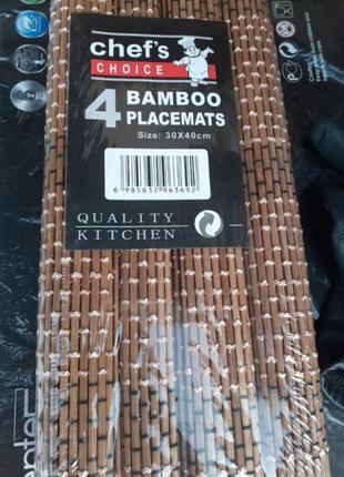 Набор бамбуковых ковриков для сервировки стола. 4 шт.