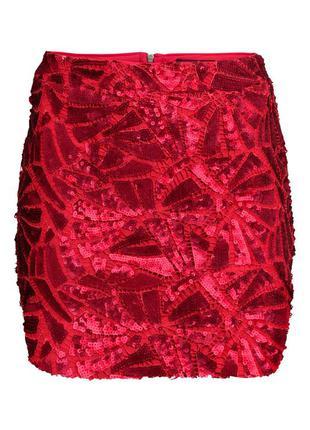 Красная юбка в пайетках h&m