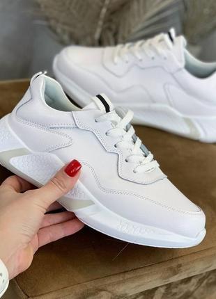 Кроссовки, белые, натуральная кожа, весенние