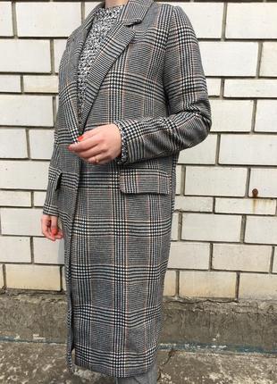 Стильное шерстяное h&m классическое пальто тренд клетчатое в клетку классика