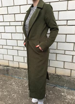 Стильное шерстяное h&m классическое пальто тренд длинное