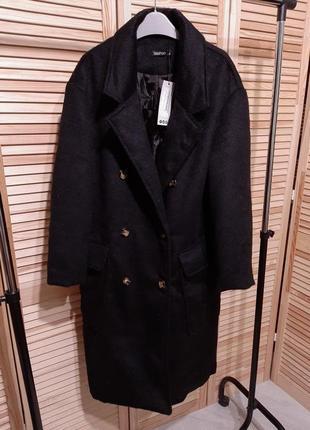 Boohoo базовое черное пальто m прямое миди двубортное накладные карманы тренд оверсайз