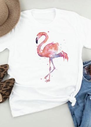 Женская футболка принт фламинго