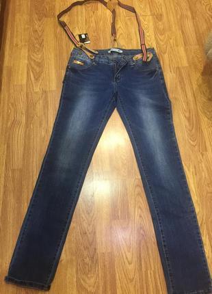 Новые женские синие джинсы с подтяжками, 30 размер