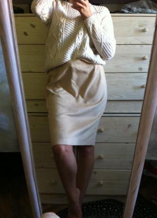 Мягенькая бежевая миди юбка под замш 12-14 новая next