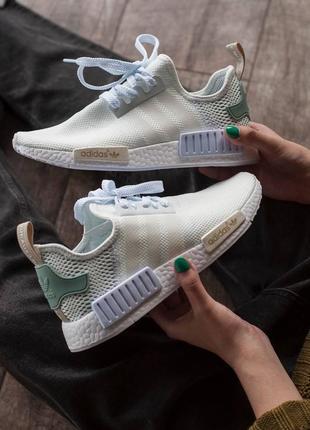 Кроссовки текстильные adidas nmd white/green1 фото