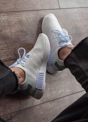 Кроссовки текстильные adidas nmd white/green2 фото